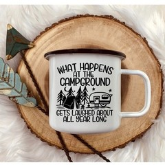 Personalised Enamel camping mug, Name, Photo, Coffee or Tea with quote