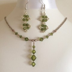 Swarovski Crystal Earrings and Necklace Set: Lacie and Landon
