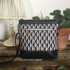 Jasmine Crossbody Bag - Black & Grey Diamonds/Black Faux Leather