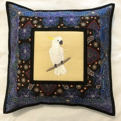 Australiana cushion cover - SULPHUR CRESTED COCKATOO