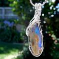 Large 15.88ct Andamooka Matrix Opal Sterling wire wrapped pendant