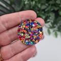 Molly Mega Rainbow Dot Sparkle Circle - Mega Stud Earrings