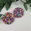 Molly Mega Rainbow Dot Sparkle Circle - Mega Stud Earrings