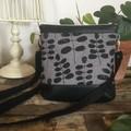 Jasmine Crossbody Bag - Black & Grey Leaves/Black Faux Leather