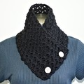 Lace Black crochet cowl with acrylic cream buttons
