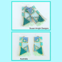 Sherbet- hand woven beaded earrings