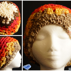 Boho style Pony tail Beanie in hearty tones - adult size