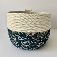Large Rope Basket with Jocelyn Proust (Teal) Fabric Base