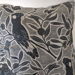 Black Cockatoos cushion- hand screen