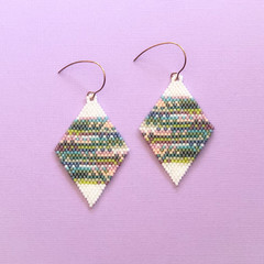 Handmade diamond shaped beaded earrings
