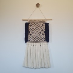 Hand woven wall hanging - navy and metallic diamonds