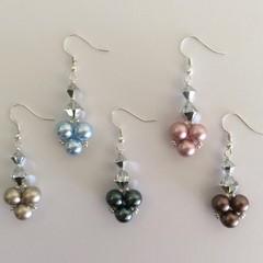Swarovski Crystal/Pearl Earrings: Lancier