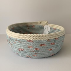 Rope Basket - Catch All - with Light Blue Floral Fabric