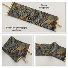 Gypsy Diagonals - hand woven beaded cuff