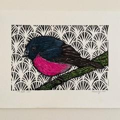 Australian Birds - Pink Robin - Linoprint and watercolour