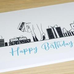 Female Happy Birthday card - shopping and stilettos