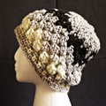 Boho style Beanie in shades of grey black and cream - adult size