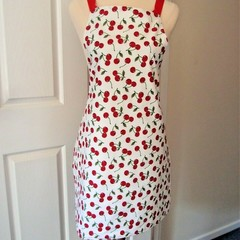 Vintage Look Apron - Cherry Pattern Handmade Lined Cook's or Crafter's Apron