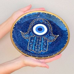 Hamsa Evil eye, All seeing eye art, Hand of Fatima wall decorative plate