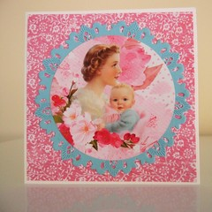 Mother's Day Card - Handmade Card - Vintage Look Mum and Child Blank Card