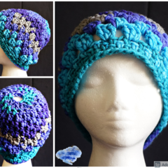 Boho style Pony tail Beanie in shades of blue - adult size