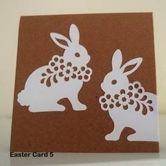 Happy Easter Card Handmade Easter Card -  Paper cut White Bunnies on Kraft Card