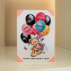 Mother's Day Card - Handmade Teddy Bear with Word Balloons - Happy Mother's Day