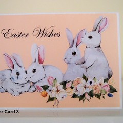 Happy Easter Card - Handmade Easter Card -  Bunnies Easter Wishes Pastel Colours