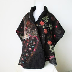 Felted Scarf Wool Silk Nuno Felt Wrap Shawl Gipsy Black