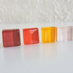 Colourful small square glass stud earrings , Wine Red Pale Pink Purple Orange