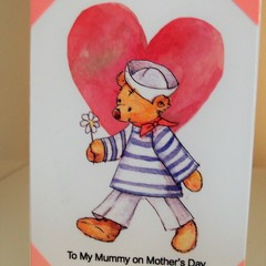 Mother's Day Card - Handmade Sailor Bear with Heart To Mummy Happy Mother's Day