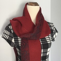 Handwoven Scarf, 100% Acrylic, Dark Red/Charcoal