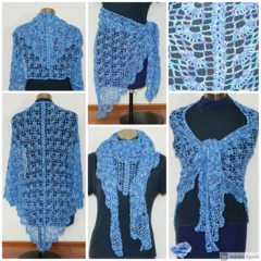 Summer Shawl in shades of blue with a silver thread in the yarn