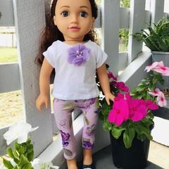 Dolls Clothes Leggings/TShirt Mauve 45cm/18inch doll