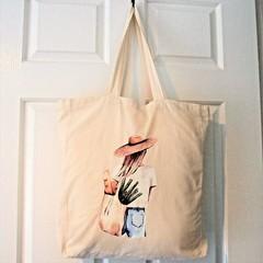 Tote Bag - Girl Shopping - Eco Friendly Natural Calico
