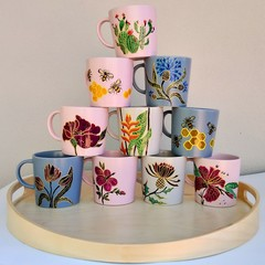 Personalised hand painted coffee mug, Floral cup set, Gardener mother's day gift