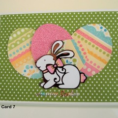Happy Easter Card Handmade Easter Card -  Bunny with Glitter Finish Eggs