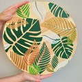 Cheese board Lazy Susan, Turntable centerpiece Coastal Tropical Monstera theme