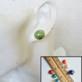 Round Ceramic Cabochon stud earrings , Purple Black White Yellow Green Blue Red
