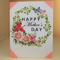 Mother's Day Card - Handmade Card - MUM Floral Card Pink Happy Mother's Day