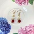 Bead Drop Earrings - Ruby Red Gems & Pearl Beads - Gold Stainless Steel Hooks