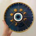 Evil eye decorative plate, Moon phase wall art, Luna small wall decor, Blue gold
