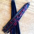 Stacked Tassel, Genuine Leather Earrings. Red Leopard/Black/Silver