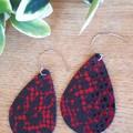 Genuine Leather Teardrop Earrings. Red/Black Leopard/ Cheetah Print
