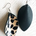 Pinched Petal, Genuine Patent Leather, Stainless Steel Earrings, Leopard