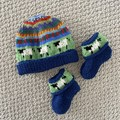 Navy sheep beanie and Matching Booties - up to 4 months - Hand knitted