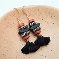 Jasper, krobo bead tassel earrings
