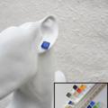 Minimal Small Blue glass stud earring , Turquoise Pale blue Cobalt blue Sky blue