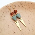 Brass and frosted glass bead earrings with nickel free hooks - blue