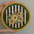 Sunflower Lazy Susan wood,MacKenzie Childs inspired, Turn table family gathering